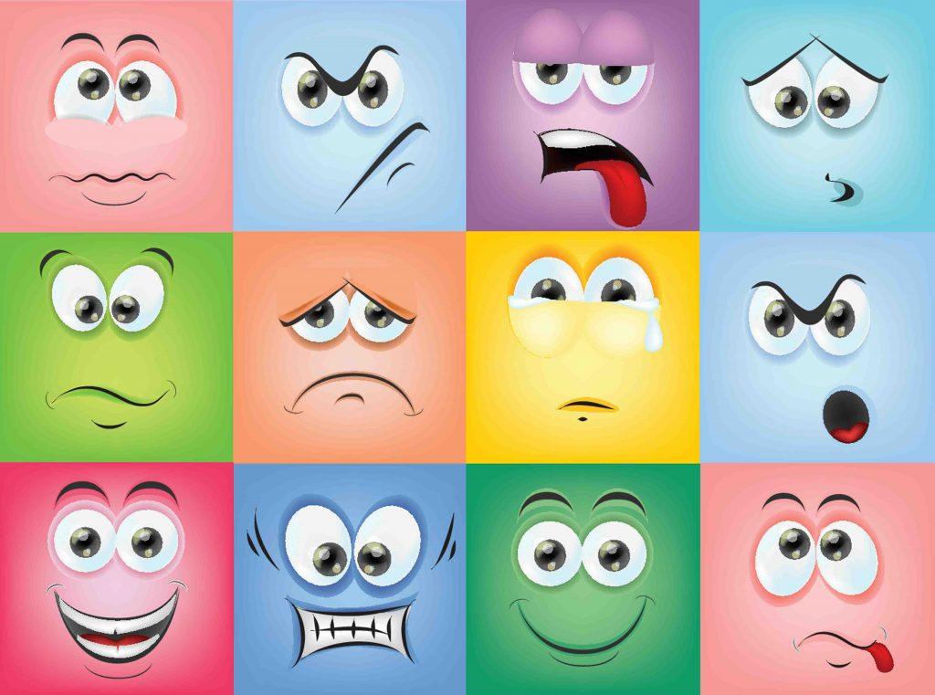 Twelve emotion faces
