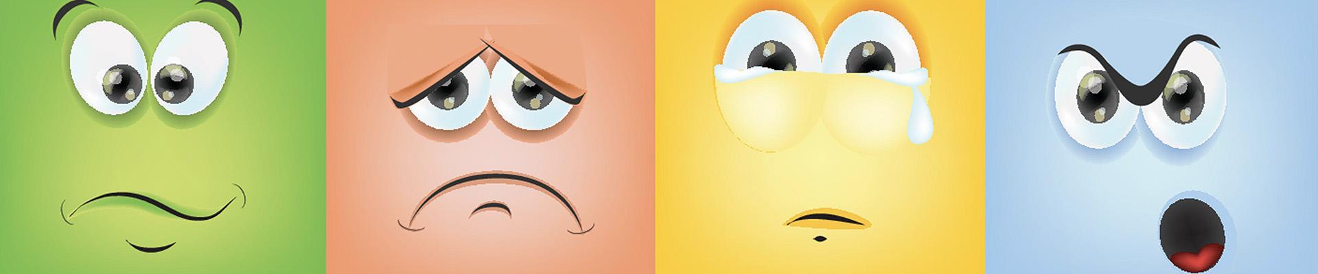 Four emotion faces